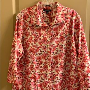 NWOT Lands End Petite Plus Cotton No Iron Blouse